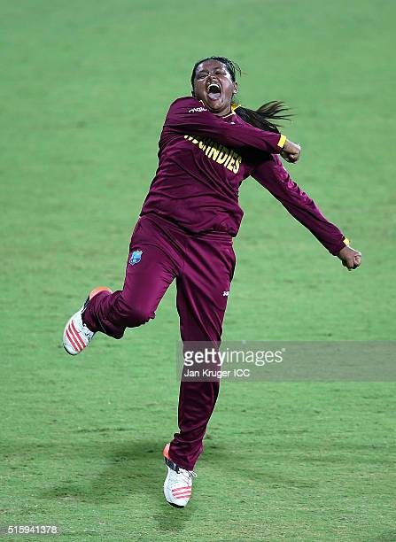 Anisa Mohammed of the West Indies celebrates the wicket of Bismah Maroof of Pakistan during the Women's ICC World Twenty20 India 2016 match between...