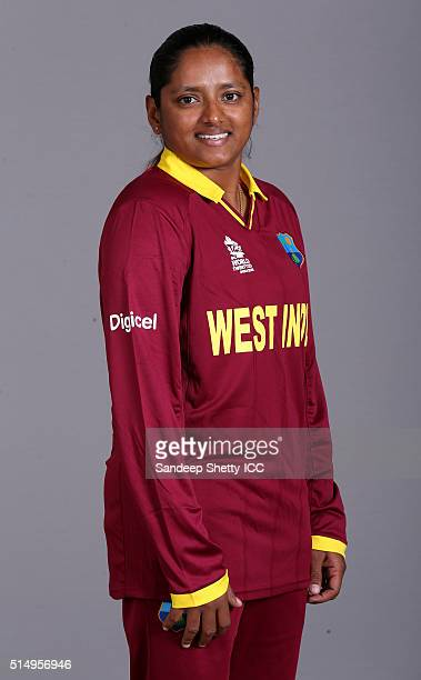 Anisa Mohammed of the West Indies during the photocall of the West Indies team ahead of the Women's ICC World Twenty20 India 2016 on March 11 2016 in...