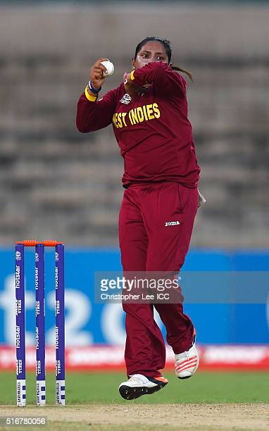 Anisa Mohammed of the West Indies in action during the Women's ICC World Twenty20 India 2016 Group B match between West Indies and Bangladesh at the...