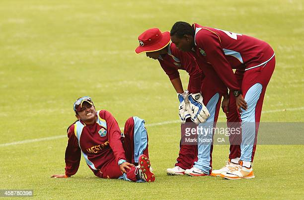 Anisa Mohammed of the West Indies is injured during game one of the women's One Day International series between Australia and the West Indies at...