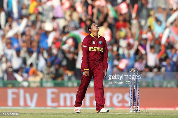 Anisa Mohammed of the West Indies shows her frustration during the Women's ICC World Twenty20 India 2016 match between West Indies and India at IS...