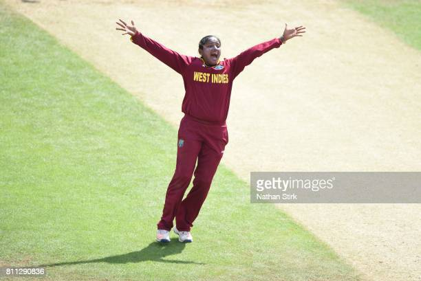 Anisa Mohammed of West Indies appeals during the ICC Women's World Cup 2017 match between West Indies and Sri Lanka at The 3aaa County Ground on July...