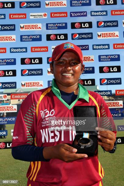 Anisa Mohammed of West Indies receives the player of the match award during the ICC T20 Women's World Cup Group A match between West Indies and...