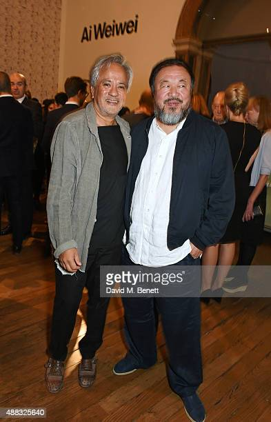 Anish Kapoor and Ai Weiwei attend the opening reception to celebrate the Ai Weiwei exhibition at The Royal Academy of Arts on September 15 2015 in...