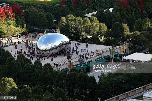 Anish Kapoor's 'Cloud Gate' sculpture as photographed from the MDA Chicago City Apartments' Sky Park during the Chicago Architecture Foundation's...