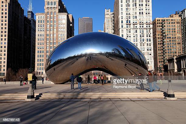 Anish Kapoor's Cloud Gate sculpture sits in Millennium Park on April 05 2014 in Chicago Illinois