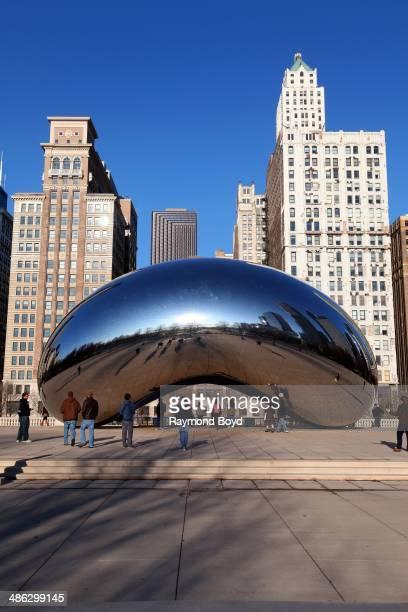 Anish Kapoor's Cloud Gate sculpture sits in Millennium Park on April 05 2014 in Chicago Illinois