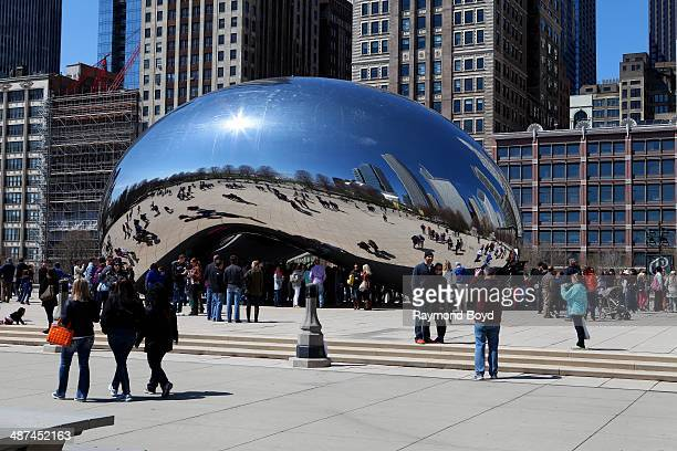 Anish Kapoor's 'Cloud Gate' sculpture sits in Millennium Park on April 26 2014 in Chicago Illinois