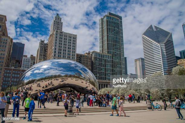 Anish Kapoor's sculpture Cloud Gate is seen in Millennium Park in the Loop community of Chicago Illinois on May 4 2018