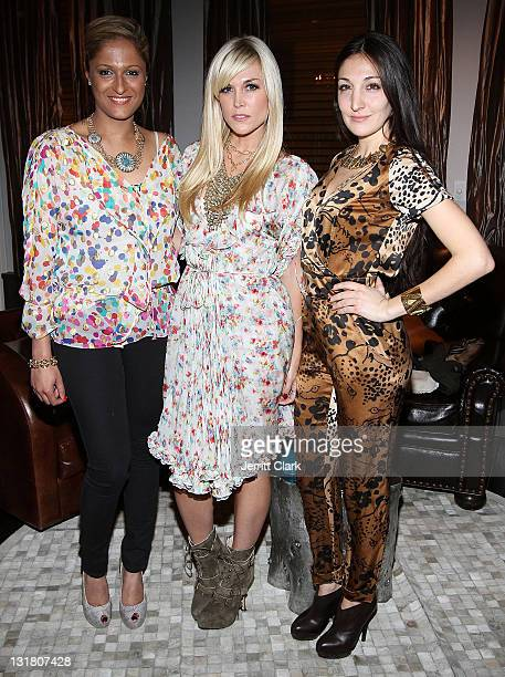 Anisha Lakhani Tinsley Mortimer and Nicole Romano attend the Style Etoile launch celebration at Double Cross Lounge on February 8 2011 in New York...