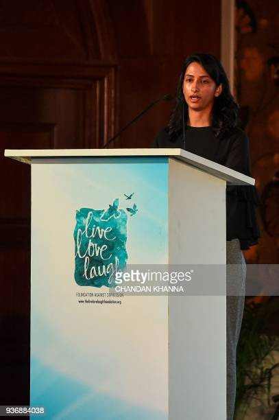 Anisha Padukone director of the Live Love Laugh Foundation speaks during the unveiling event for a report on the public perception towards mental...