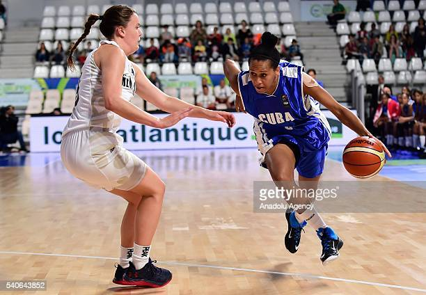 Anisleidy Galindo of Cuba in action during the FIBA Women's Olympic Qualifying Tournament match between New Zealand and Cuba at La Trocardire in...