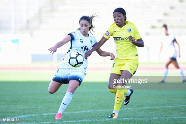 Anissa Lahmari of Paris FC and Ngozi Ebere of PSG during the women's Division 1 match between Paris FC and Paris Saint Germain on October 15 2017 in...