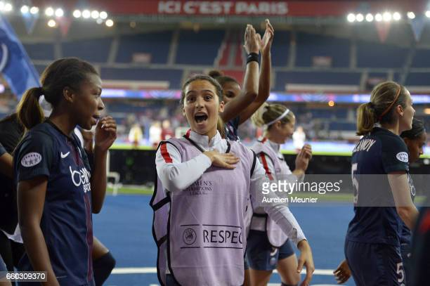 Anissa Lahmari of Paris Saint Germain in reacts after the victory after the Champions League match between Paris Saint Germain and Bayern Munich at...