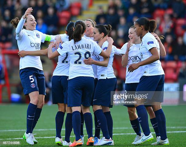 Anissa Lahmari of Paris SaintGermain celebrates with her team mates after scoring the opening goal of the game during the UEFA Woman's Champions...
