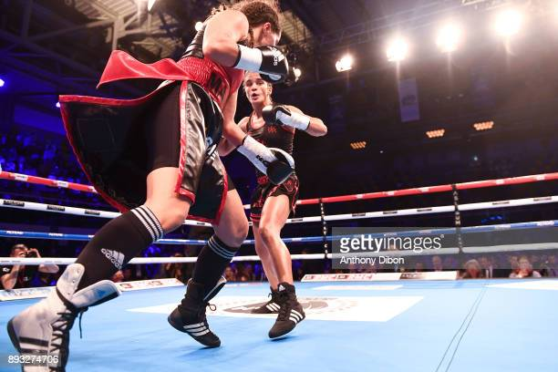 Anissa Meksen and Fatima El Kabous during the event No Limit Levallois at Salle Marcel Cerdan on December 14 2017 in Paris France