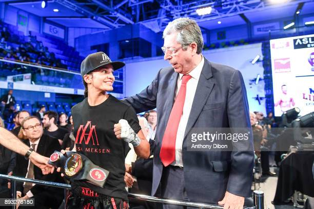Anissa Meksen and Patrick Balkany mayor of Levallois during the event No Limit Levallois at Salle Marcel Cerdan on December 14 2017 in Paris France