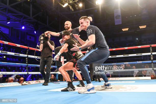 Anissa Meksen celebrates the victory during the event No Limit Levallois at Salle Marcel Cerdan on December 14 2017 in Paris France