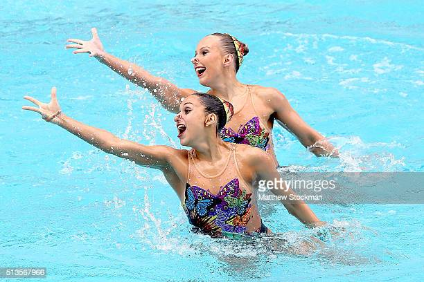 Anita Alvarez and Mariya Koroleva of the United States compete in the Duets Free Routine First Round during the FINA Olympic Games Synchronised...