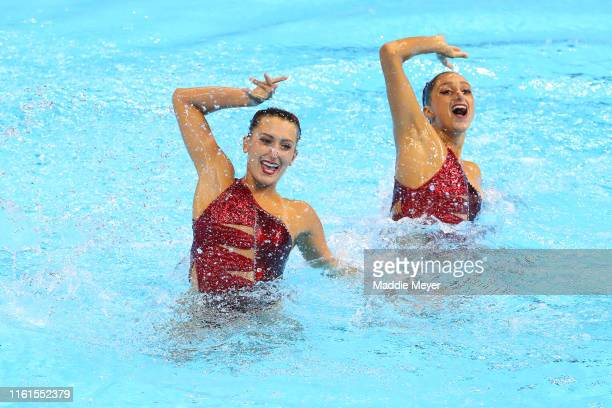Anita Alvarez and Ruby Remati of the United States compete in the Duet Technical preliminary round on day one of the Gwangju 2019 FINA World...