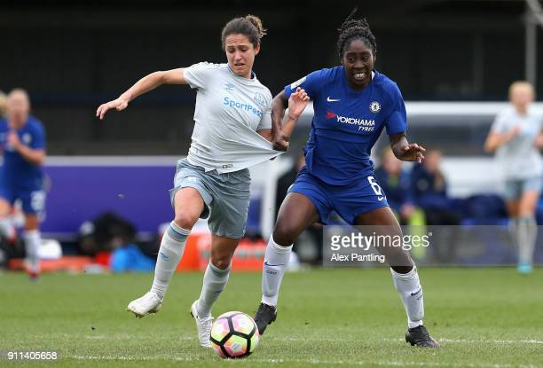 Anita Asante of Chelsea fouls Courtney SweetmanKirk of Everton inside the box leading to a penalty during the WSL match between Chelsea Ladies and...