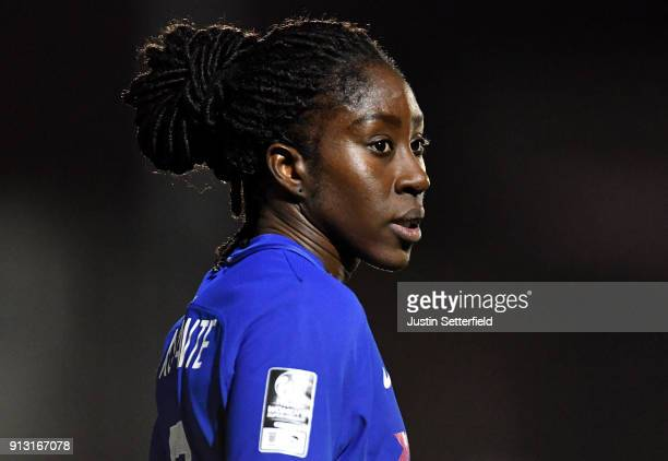Anita Asante of Chelsea Ladies during the WSL match between Chelsea Ladies and Manchester City Ladies at The Cherry Red Records Stadium on February 1...