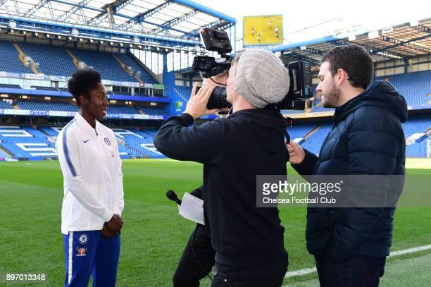 Anita Asante of Chelsea Ladies is interivewed during her unveil as a Chelsea Ladies player at Stamford Bridge on December 18 2017 in London England