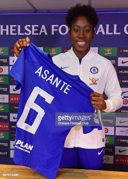 Anita Asante of Chelsea Ladies poses for a photo during her unveil as a Chelsea Ladies player at Stamford Bridge on December 18 2017 in London England