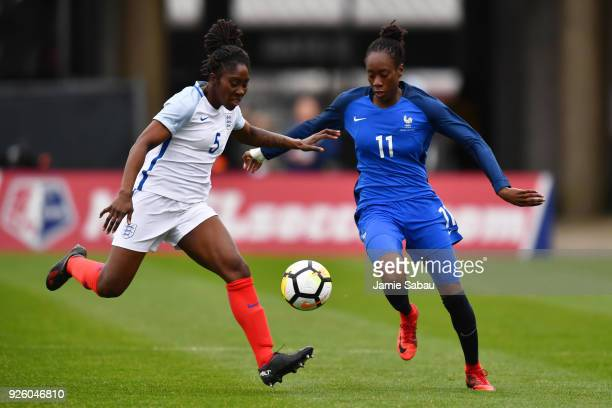 Anita Asante of England and Ouleymata Sarr of France battle for control of the ball in the first half on March 1 2018 at MAPFRE Stadium in Columbus...