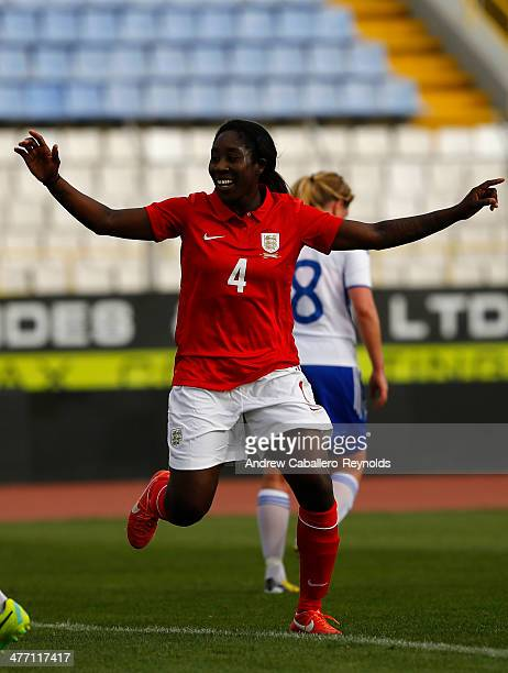 Anita Asante of England celebrates scoring a goal during the Cyprus Cup match between England and Finland at GSZ stadium on March 7 2014 in Larnaca...