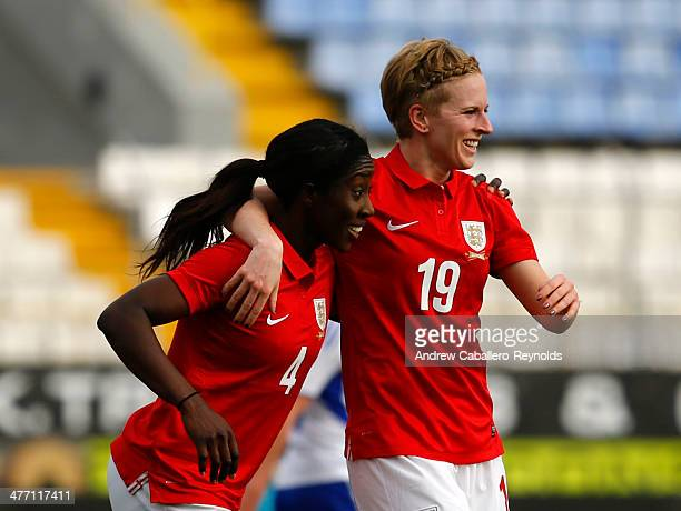 Anita Asante of England celebrates scoring a goal with Natasha Dowie during the Cyprus Cup match between England and Finland at GSZ stadium on March...