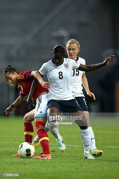 Anita Asante of England challenges Jennifer Hemoso of Spain during the UEFA Women's EURO 2013 Group C match between England and Spain at Linkoping...
