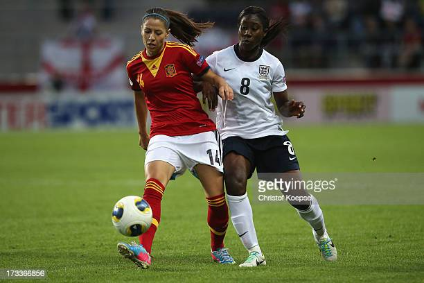 Anita Asante of England challenges Vicky Losada of Spain during the UEFA Women's EURO 2013 Group C match between England and Spain at Linkoping Arena...