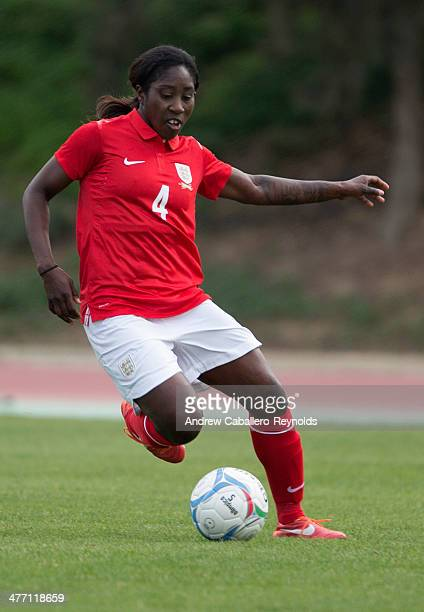 Anita Asante of England in action during the Cyprus Cup match between England and Finalnd at GSZ stadium on March 7 2014 in Larnaca Cyprus