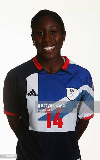 Anita Asante of Team GB Women's Olympic Football Team poses during an official portrait session at the Marriot Hotel on July 21 2012 in Cardiff Wales