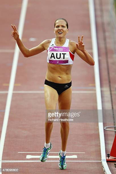 Anita Baierl of Austria celebrates as she wins the Women's 5000 metres during day ten of the Baku 2015 European Games at the Olympic Stadium on June...
