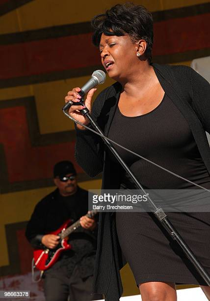 Anita Baker performs during day 3 of the 41st annual New Orleans Jazz Heritage Festival at the Fair Grounds Race Course on April 25 2010 in New...
