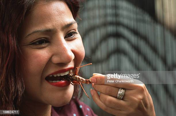Anita Chaisatuen owner of a hair salon eats fried insects for a lunchtime snack Cooked Insects are very popular in Thailand She is seen eating a...