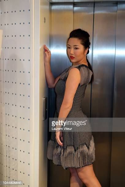 Anita Chui prepares backstage before the Christophe Guillarme show as part of the Paris Fashion Week Womenswear Spring/Summer 2019 on October 2, 2018...