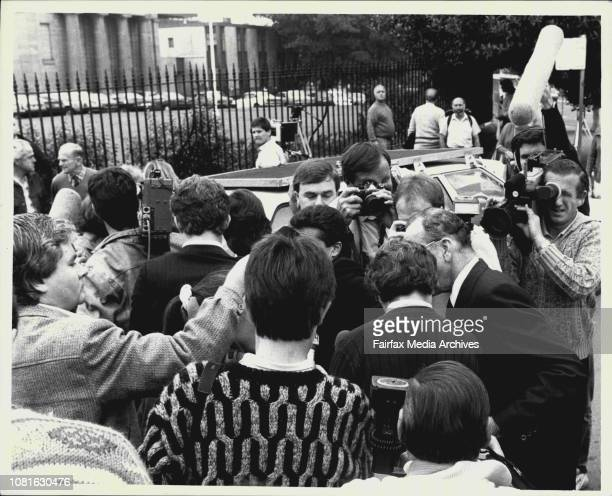 Anita Cobby's Parents leave Darlinghurst court after the Jurys Findings June 10 1987