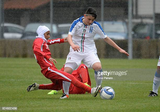 Anita Coda of Italy Women's U16 competes with Fatemeh Geraelisheikh of Iran Women's U16 during the Women's U16 International Tournament match between...