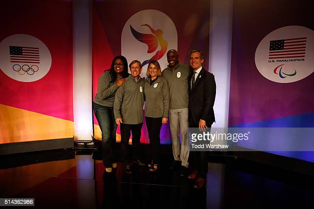 Anita DeFrantz, Olympians Bart Conor, Nadia Comaneci, Carl Lewis and Los Angeles Mayor Eric Garcetti pose for a photo at the USOC Olympic Media...