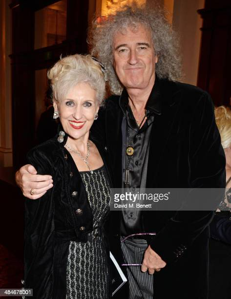 Anita Dobson and Brian May attend an after party following the Laurence Olivier Awards at The Royal Opera House on April 13 2014 in London England
