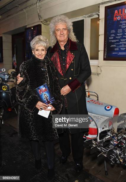 Anita Dobson and Brian May attend the Gala Night performance of 'All Or Nothing The Mod Musical' at The Ambassadors Theatre on March 28 2018 in...