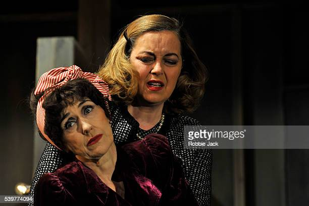 Anita Dobson as Joan Crawford and Greta Scacchi as Bette Davis in Anton Burge's 'Bette and Joan' directed by Bill Alexander at the Arts Theatre in...