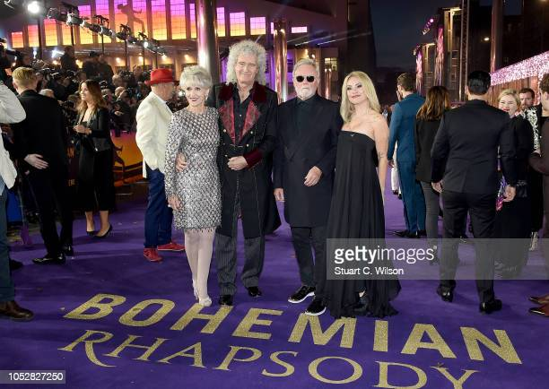 Anita Dobson Brian May Roger Taylor and Sarina Potgieter attend the World Premiere of 'Bohemian Rhapsody' at SSE Arena Wembley on October 23 2018 in...