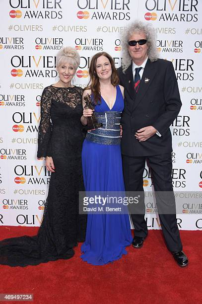Anita Dobson Katie Brayben winner of Best Actress In A Musical for 'Beautiful The Carole King Musical' and Brian May pose in the winners room at The...