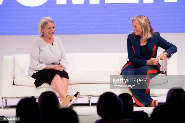 Anita Dunn and Hilary B Rosen speak onstage at 'Women Rule The LA Summit' at NeueHouse Hollywood on June 5 2018 in Los Angeles California