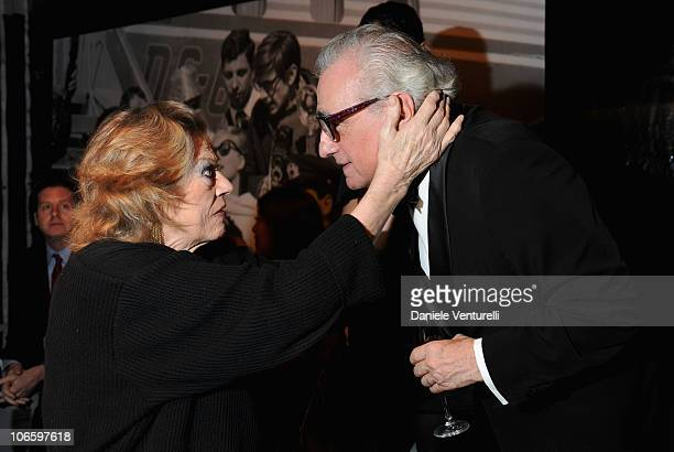 Anita Ekberg and Martin Scorsese attend the World Restoration Premiere Of La Dolce Vita Dinner Hosted by Gucci at the Hotel Cavalieri Hilton on...