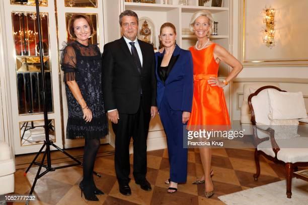 Anita Freitag-Meyer, Sigmar Gabriel, Cornelia Poletto and Kristina Troeger during the 'Die Europa' award to women entrepreneurs hosted by the Club of...